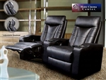 Pavillion Theater Seating - 2 Black Leather Chairs By Coaster 600130-2