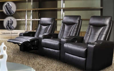Director Theater Seating - 3 Black Leather Chairs COA-5000-3
