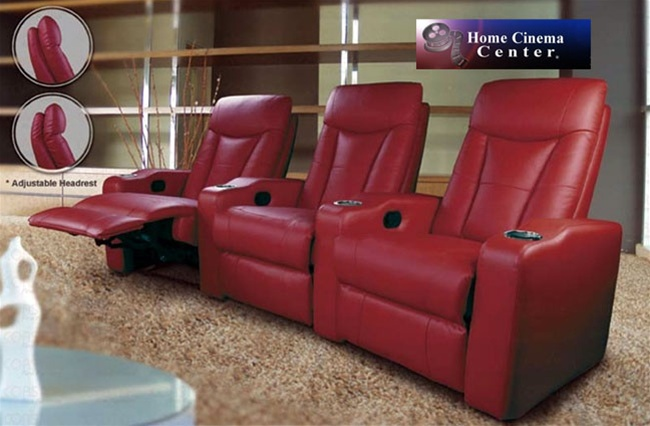 Pavillion Theater Seating   3 Red Leather Chairs By Coaster 600132 3