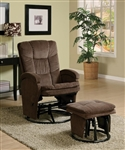 Chocolate Chenille Glider with Matching Ottoman by Coaster - 600159