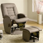 Beige Leather Like Vinyl Glider with Matching Ottoman by Coaster - 600166