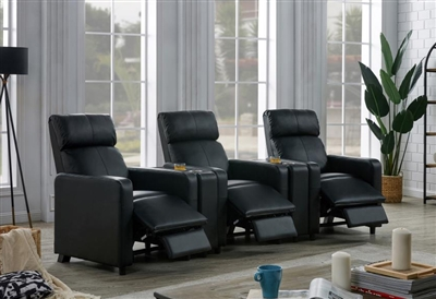 Reeva 3 Piece Black Theater Seating by Coaster - 600181-03