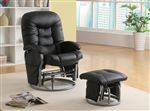 Black Leatherette Glider with Matching Ottoman by Coaster - 600227