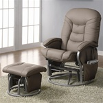 Beige Leatherette Glider with Matching Ottoman by Coaster - 600228