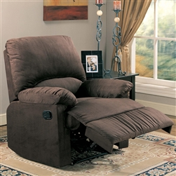 Bagio Glider Recliner in Chocolate Microfiber by Coaster - 600266G