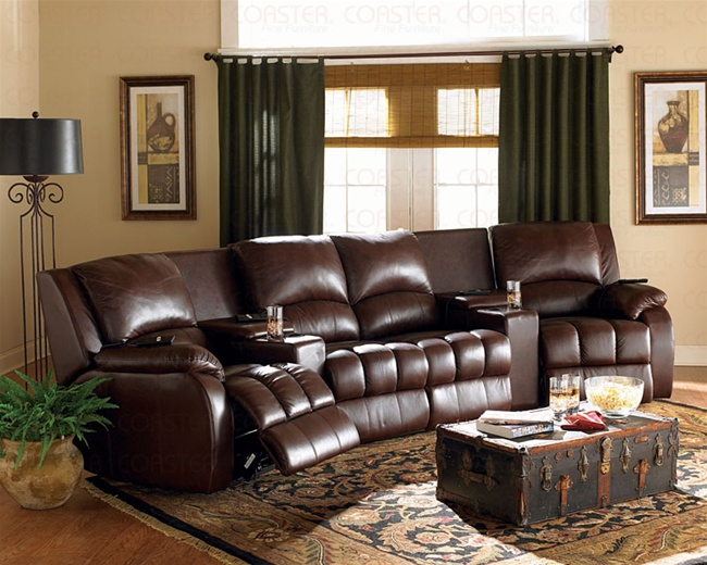 brown leather milton 5 piece motorized reclining theater seating by coaster 600311m. Black Bedroom Furniture Sets. Home Design Ideas