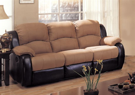 Rivera Sofa in Mocha Microfiber and Brown Leather-Like Vinyl by ...