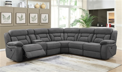 Camargue Grey Microfiber 6 Piece Motion Sectional by Coaster - 600370