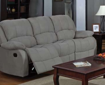 Reed Grey Microfiber Reclining Sofa By Coaster 600861 Larger Photo