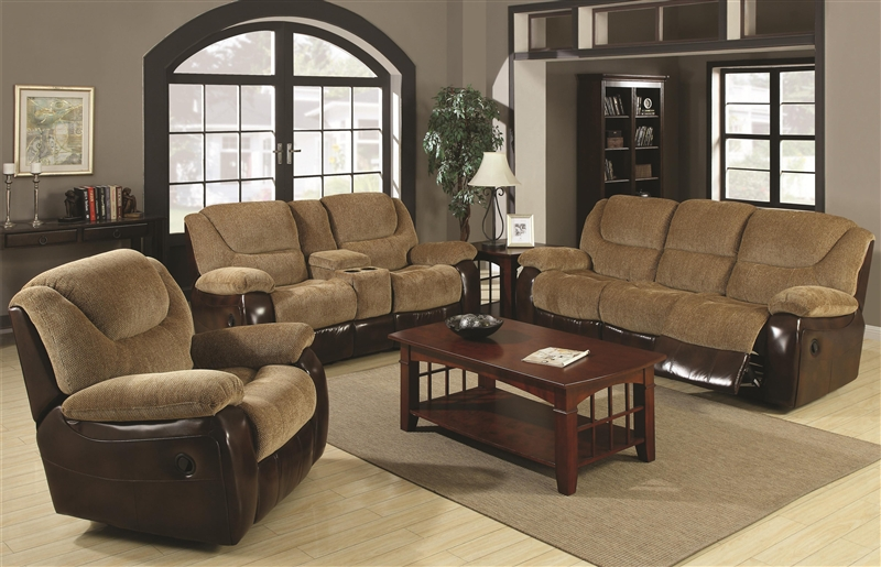 Reclining Sofa Loveseat Set In Two Tone