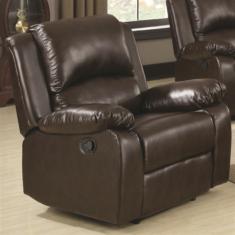 Beau Boston Recliner In Brown Leather Like Vinyl Upholstery By Coaster   600973