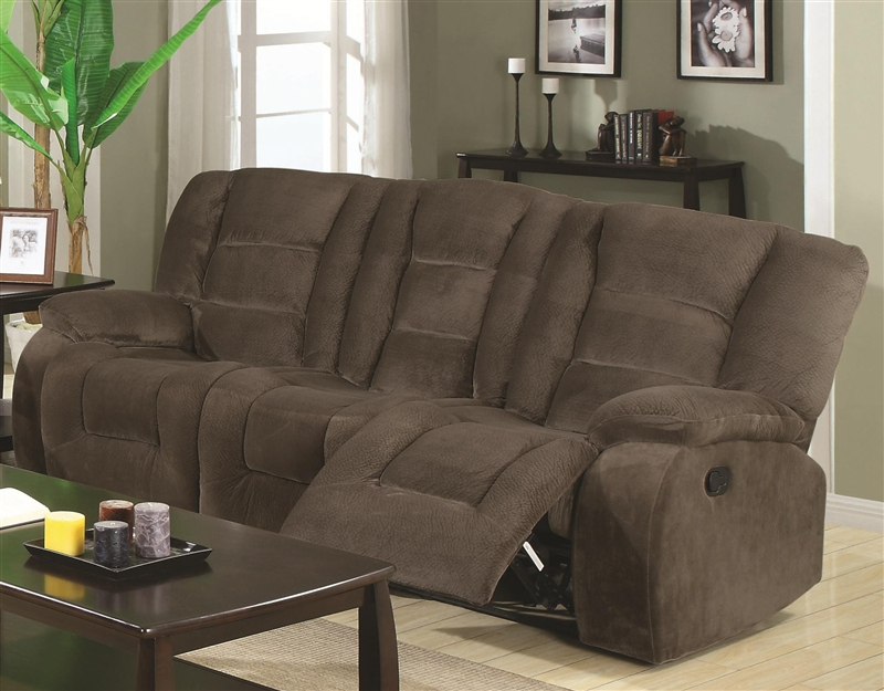Charlie Reclining Sofa in Brown Sabe Fabric by Coaster