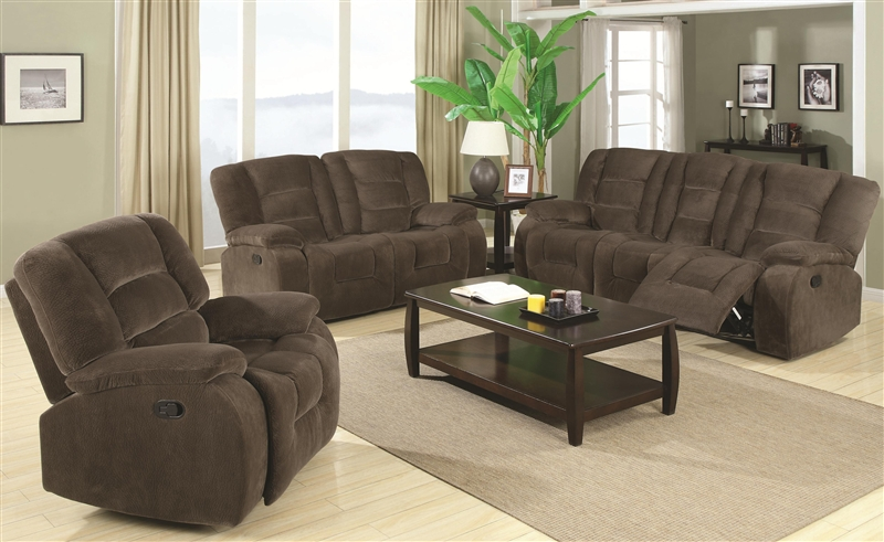 Charlie 2 Piece Reclining Sofa Loveseat Set In Brown Sabe Fabric By