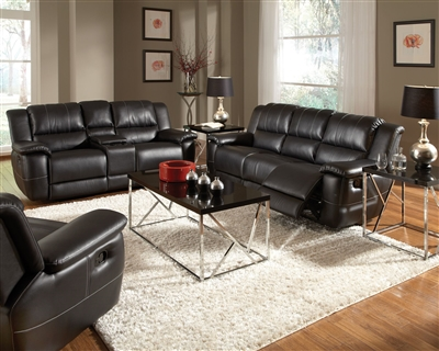 Lee 2 Piece Reclining Sofa Set in Black Leather Upholstery by Coaster - 601061-S