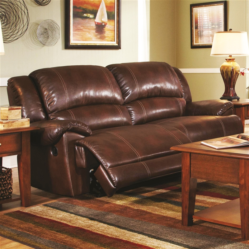 Mackenzie Chestnut Leather Motion Sofa by Coaster - 601181