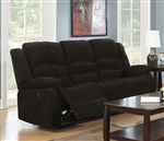 Gordon Reclining Sofa in Dark Brown Chenille Upholstery by Coaster - 601461