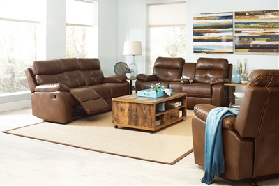 Damiano 2 Piece Reclining Sofa Set in Brown Leatherette Upholstery by Coaster - 601691-S