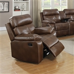 Damiano Recliner in Brown Leatherette Upholstery by Coaster - 601693