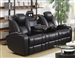 Delange Power Reclining Sofa in Black Performance Leatherette by Coaster - 601741P