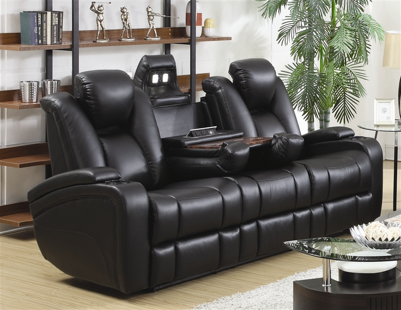 Gentil Element Power Recline Sofa In Black Leather Upholstery By Coaster   601741P