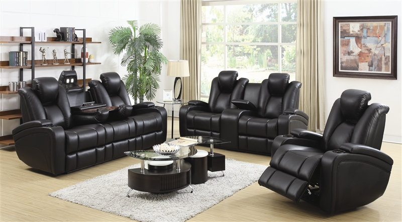 Element 2 Piece Recline Sofa Set In Black Leather Upholstery By Coaster 601741p S