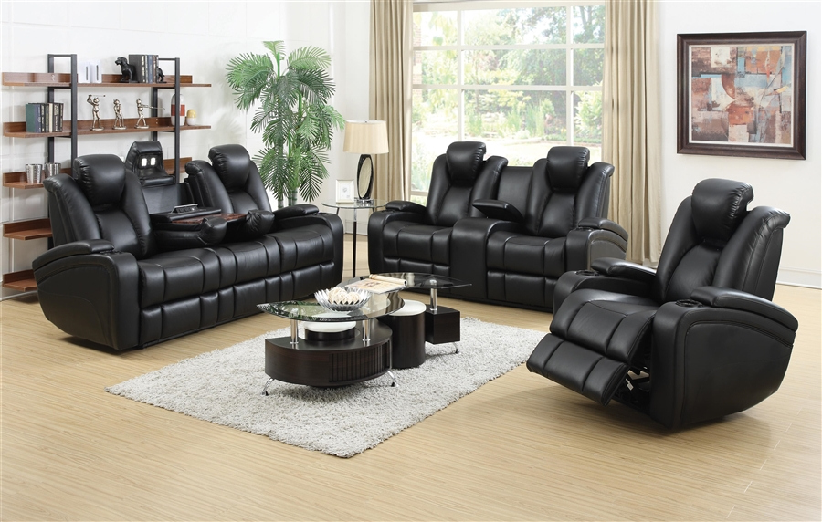 Great Element 2 Piece Power Recline Sofa Set In Black Leather Upholstery By  Coaster   601741P S