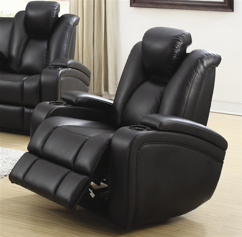 Element 2 Piece Power Recline Sofa Set In Black Leather