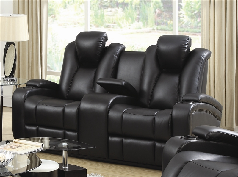 element power recline loveseat in black leather upholstery by - Black Leather Loveseat