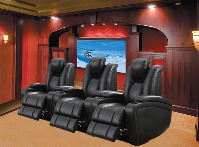 Element 3 Piece Power Theater Seating In Black Leather