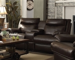 Macpherson Reclining Console Loveseat in Cocoa Bean Leather by Coaster - 601812