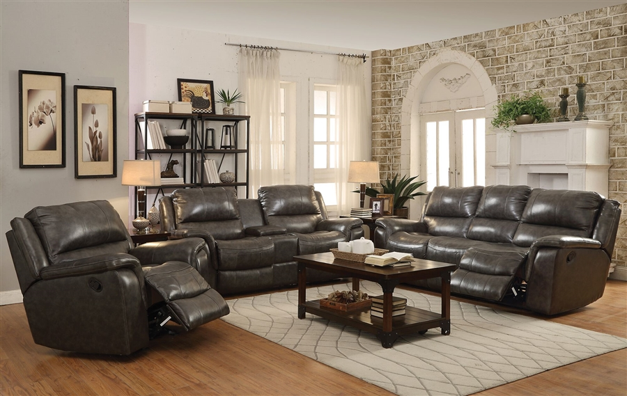 Wingfield 2 Piece Reclining Sofa Set In Charcoal Leather By Coaster    601821 S
