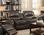 Wingfield Reclining Console Loveseat in Charcoal Leather by Coaster - 601822