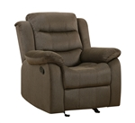 Rodman Glider Recliner in Chocolate Velvet Upholstery by Coaster - 601883