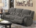 Weissman Reclining Sofa in Grey Padded Textured Fleece by Coaster - 601921
