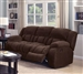 Weissman Reclining Sofa in Chocolate Brown Padded Textured Fleece by Coaster - 601924