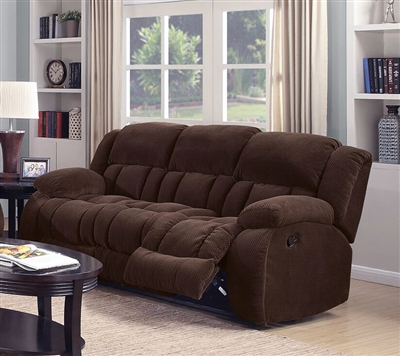 Weissman Reclining Sofa in Brown Chenille by Coaster - 601924