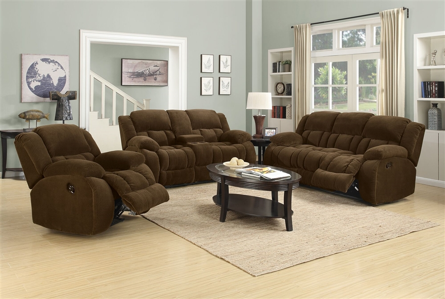 Weissman 2 Piece Reclining Sofa Set In Brown Chenille By Coaster   601924 S