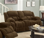 Weissman Reclining Console Loveseat in Brown Chenille by Coaster - 601925
