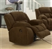 Weissman Glider Recliner in Chocolate Brown Padded Textured Fleece by Coaster - 601926