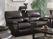 Willemse Reclining Console Loveseat in Dark Brown Leatherette Upholstery by Coaster - 601932