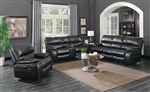 Willemse 2 Piece Reclining Sofa Set in Black Leatherette Upholstery by Coaster - 601934-S