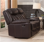 Bevington Reclining Loveseat in Chocolate Leatherette Upholstery by Coaster - 602042