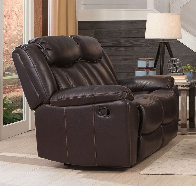 Miraculous Bevington Reclining Loveseat In Chocolate Leatherette Upholstery By Coaster 602042 Gmtry Best Dining Table And Chair Ideas Images Gmtryco