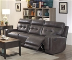 Trenton Reclining Sofa in Dark Grey Leatherette Upholstery by Coaster - 602064