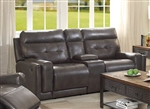 Trenton Reclining Console Loveseat in Dark Grey Leatherette Upholstery by Coaster - 602065