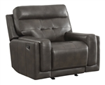 Trenton Glider Recliner in Dark Grey Leatherette Upholstery by Coaster - 602066