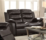 Rodman Reclining Loveseat in Dark Brown Leather Upholstery by Coaster - 602222