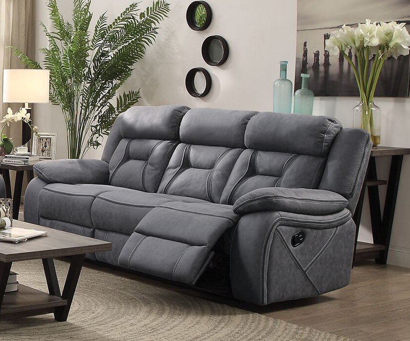Houston Reclining Sofa In Stone Microfiber Upholstery By Coaster 602261