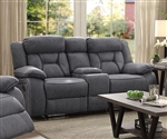 Houston Reclining Console Loveseat in Stone Microfiber Upholstery by Coaster - 602262