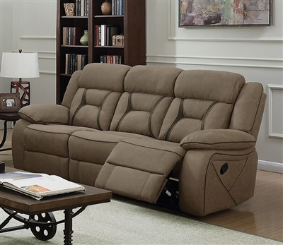 Houston Reclining Sofa in Tan Microfiber Upholstery by Coaster - 602264
